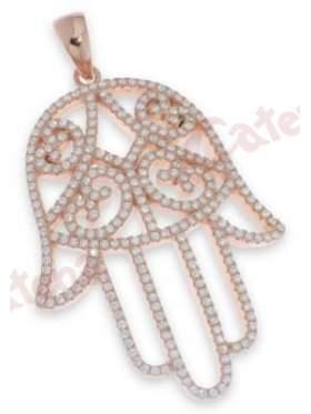 Μενταγιόν ασημένιο επιπλατινωμένο με άσπρες πέτρες ζιργκόν το χέρι της fatima τύχη πλούτο σε ρόζ επιχρύσωμα