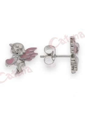 Σκουλαρίκια ασημένια, επιπλατινωμένα με σμάλτο σε σχέδιο τον έρωτα με καρδιά με ρόζ σμάλτο