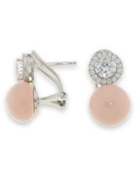 Σκουλαρίκια ασημένια επιπλατινωμένα με άσπρες πέτρες ζιργκόν και ροζ πέρλα