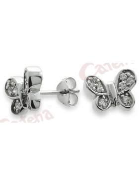 Σκουλαρίκια ασημένια, επιπλατινωμένα με σχέδιο πεταλούδα στολισμένη με λευκές πέτρες ζιργκόν