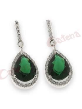 Σκουλαρίκι ασημένιο επιπλατινωμένο με άσπρες και πράσινη πέτρα ζιργκόν
