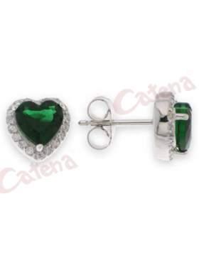 Σκουλαρίκι ασημένιο επιπλατινωμένο σε χρώμα άσπρες και πράσινη πέτρα ζιργκόν