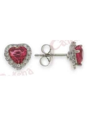 Σκουλαρίκια ασημένια επιπλατινωμένα με άσπρες πέτρες ζιργκόν και κόκκινη σε σχέδιο καρδιά