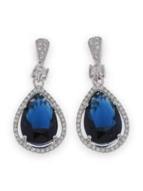 Σκουλαρίκια ασημένια επιπλατινωμένα με λευκές πέτρες ζιργκόν και μπλε