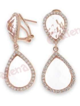 Σκουλαρίκια ασημένια επιχρυσωμένα ροζ με άσπρες πέτρες ζιργκόν και ροζ