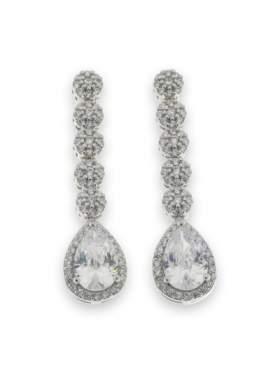 Σκουλαρίκια ασημένια επιπλατινωμένα με άσπρες πέτρες ζιργκόν