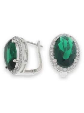 Σκουλαρίκια ασημένια επιπλατινωμένα με άσπρες πέτρες ζιργκόν και πράσινη