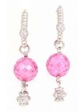 Σκουλαρίκια ασημένια επιπλατινωμένα με ροζ πέτρα