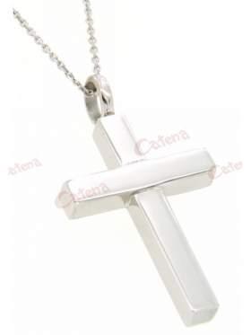 Σταυρός με αλυσίδα ανδρικός ασημένιος επιπλατινωμένος μασίφ γυαλιστερός