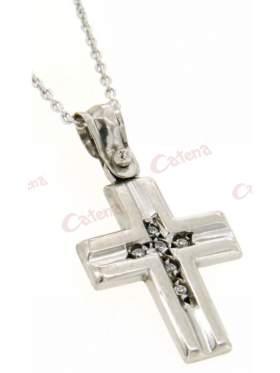 Σταυρός με αλυσίδα γυναικείος ασημένιος επιπλατινωμένος μασίφ γυαλιστερός και πέτρες ζιργκόν