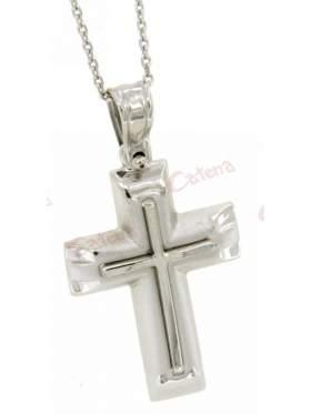 Σταυρός ασημένιος με αλυσίδα επιπλατινωμένα ανδρικός