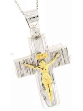 Σταυρός ασημένιος επιπλατινωμένος με αλυσίδα με εσταυρωμένο δίχρωμος