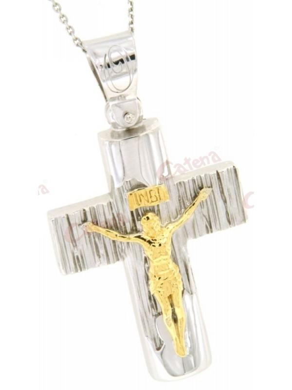 Σταυρός ασημένιος επιπλατινωμένος με αλυσίδα με εσταυρωμένο δίχρωμος. › 3049f839fa6