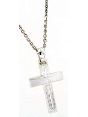 Ασημένιος σταυρός ανδρικός με αλυσίδα επιπλατινωμένη