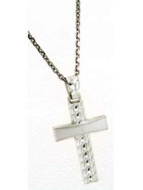 Ασημένιος σταυρός ανδρικός με αλυσίδα