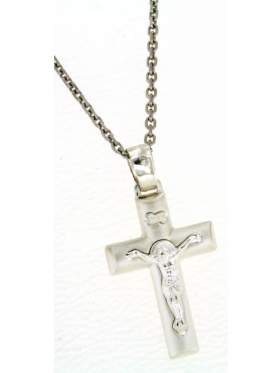 Ασημένιος σταυρός ανδρικός με αλυσίδα και των Εσταυρωμένο στο κέντρο