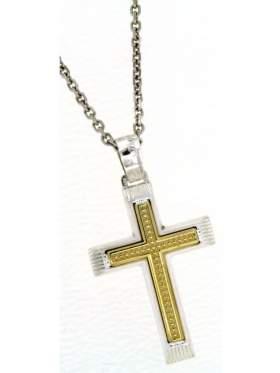 Ασημένιος σταυρός ανδρικός με αλυσίδα και κίτρινο επιχρύσωμα στο κέντρο
