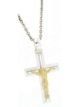 Ασημένιος σταυρός ανδρικός με αλυσίδα και κίτρινο επιχρύσωμα των Εσταυρωμένο στο κέντρο