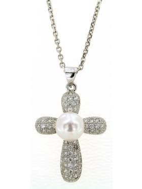 Σταυρός ασημένιος επιπλατινωμένος με αλυσίδα και άσπρες πέτρες ζιργκόν και μαργαριτάρι στο κέντρο