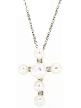 Σταυρός ασημένιος επιπλατινωμένος με αλυσίδα και άσπρες πέτρες ζιργκόν και μαργαριτάρια