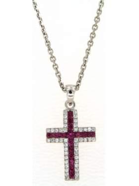 Σταυρός ασημένιος επιπλατινωμένος με αλυσίδα με πέτρες άσπρες και κόκκινες