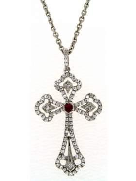 Σταυρός ασημένιος επιπλατινωμένος με αλυσίδα με άσπρες πέτρες ζιργκόν και κόκκινη