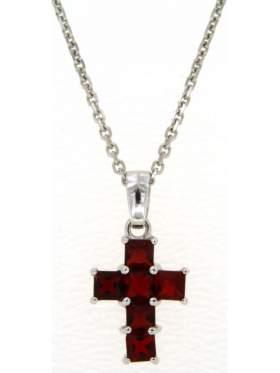 Σταυρός ασημένιος επιπλατινωμένος με αλυσίδα με κόκκινες πέτρες ζιργκόν