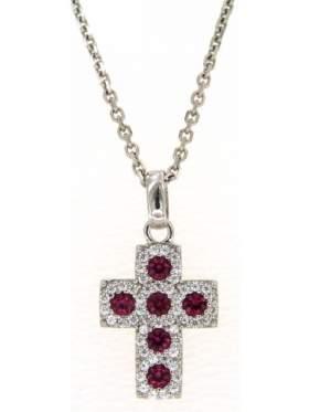 Σταυρός ασημένιος επιπλατινωμένος με αλυσίδα με κόκκινες πέτρες ζιργκόν και άσπρες