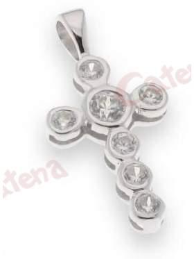 Σταυρός ασημένιος επιπλατινωμένος με ζιργκόν λευκές πέτρες στο κέντρο