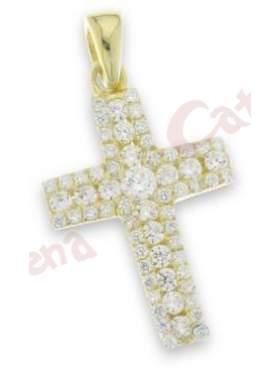 Σταυρός ασημένιος, επιπλατινωμένος με άσπρες πέτρες ζιργκόν με κίτρινο επιχρύσωμα