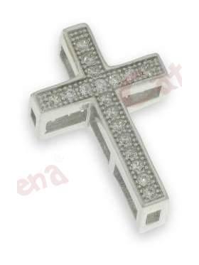 Σταυρός ασημένιος επιπλατινωμένος στολισμένος με άσπρες πέτρες ζιργκόν