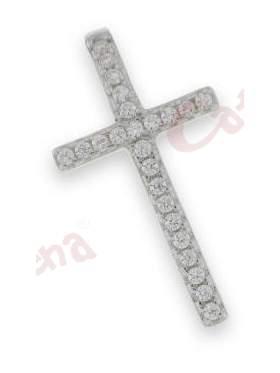 Σταυρός γυναικείος ασημένιος επιπλατινωμένος με άσπρες πέτρες ζιργκόν