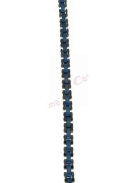 Βραχιόλι ατσάλι σε χρώμα μπλε ασημί