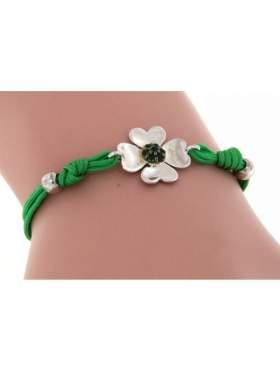 Βραχιόλι με σκοινί, σε σχήμα λουλουδιού, με στρογγυλή πέτρα, σε χρώμα πράσινο, με φινίρισμα γυαλιστερό, κανονικό επιπλατίνωμα