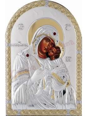 Εικόνα με επικάλυψη ασήμι και χρυσό και επένδυση λευκή δερματίνη παράσταση  Παναγία Γλυκοφιλούσα