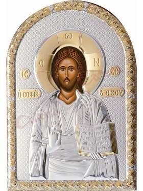 Εικόνα με επικάλυψη ασήμι και χρυσό και επένδυση λευκή δερματίνη παράσταση Χριστός