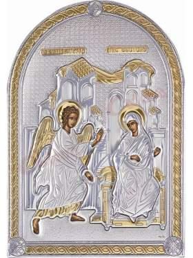 Εικόνα με επικάλυψη ασήμι και χρυσό και επένδυση λευκή δερματίνη παράσταση Ευαγγελισμός