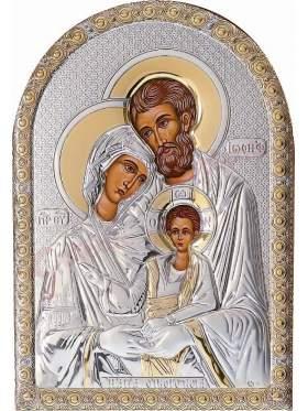 Εικόνα με επικάλυψη ασήμι και χρυσό και επένδυση λευκή δερματίνη παράσταση αγ οικογένεια