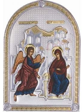Εικόνα με επικάλυψη ασήμι και χρυσό και επένδυση λευκή δερματίνη παράσταση Ευαγγελισμός με χρώματα