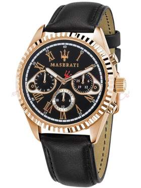 MASERATI Competizione Rose Gold Black Leather Strap R8851100002