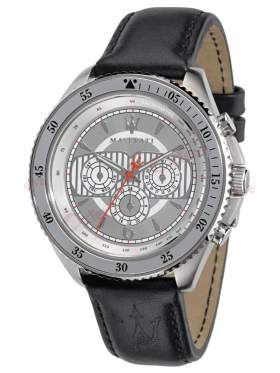 MASERATI Stile Multifuction Black Leather Strap R8851101004