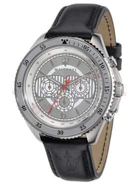 MASERATI Stile Multifuction Black Leather Strap R8851101004