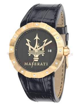 MASERATI Tridente Crystal Ladies Gold Black Leather Strap R8851103502