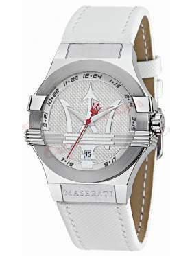 Maserati Gentlemen's White Leather Watch R8851108004