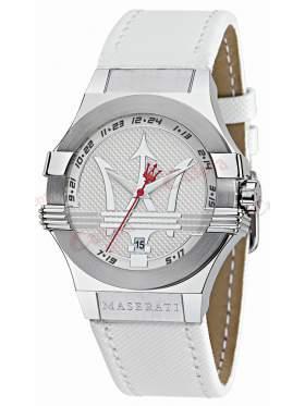 Maserati Gentlemen's White Leather Watch R8851108004