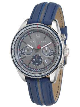 MASERATI Plancia Chronograph Blue Leather Strap R8871602001