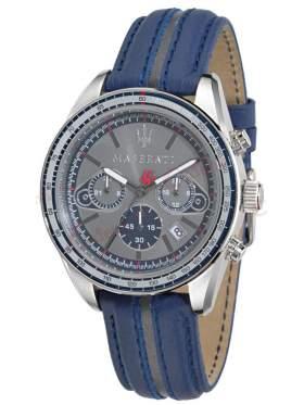 MASERATI Plancia Chronograph Blue Leather Strap R8871602001