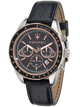 MASERATI Plancia Chronograph Black Leather Strap R8871602002