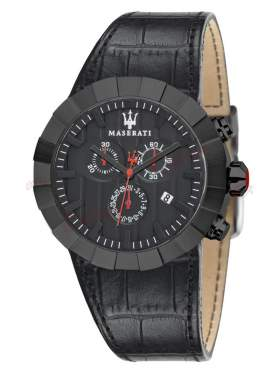 MASERATI Tridente All Black Leather Strap R8871603001