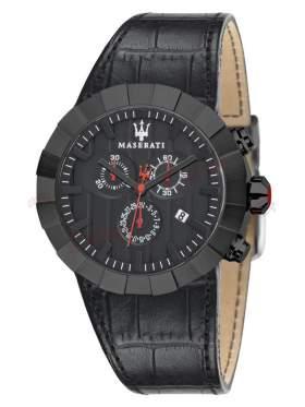 MASERATI Tridente All Black Leather Strap R8871603001